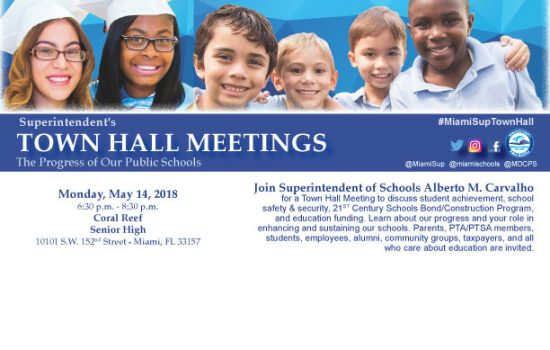 SUPERINTENDENT'S TOWN HALL MEETING AT CORAL REEF SENIOR HIGH SCHOOL