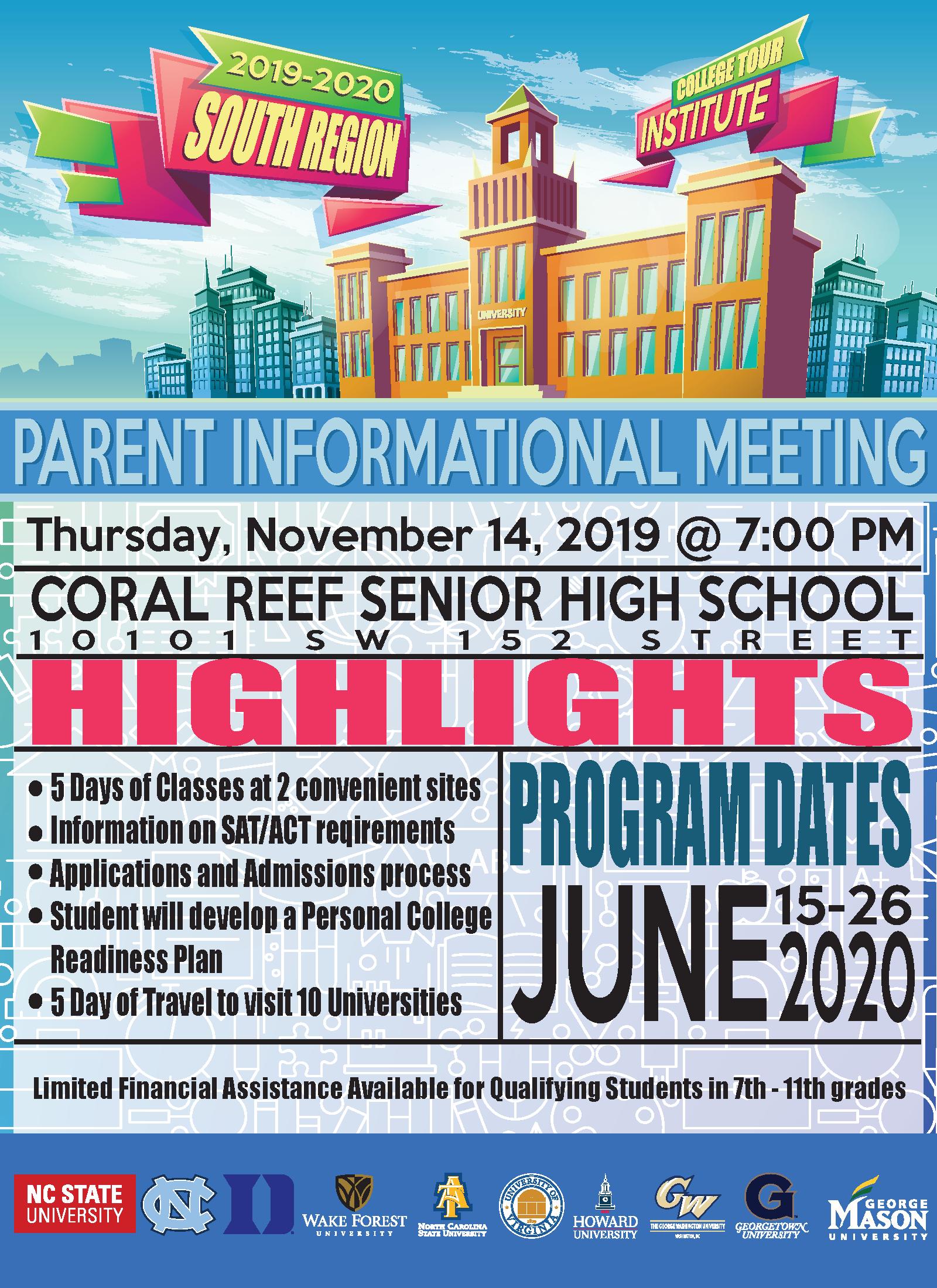 College Tour – Parent Info Meeting @ Coral Reef Senior High School
